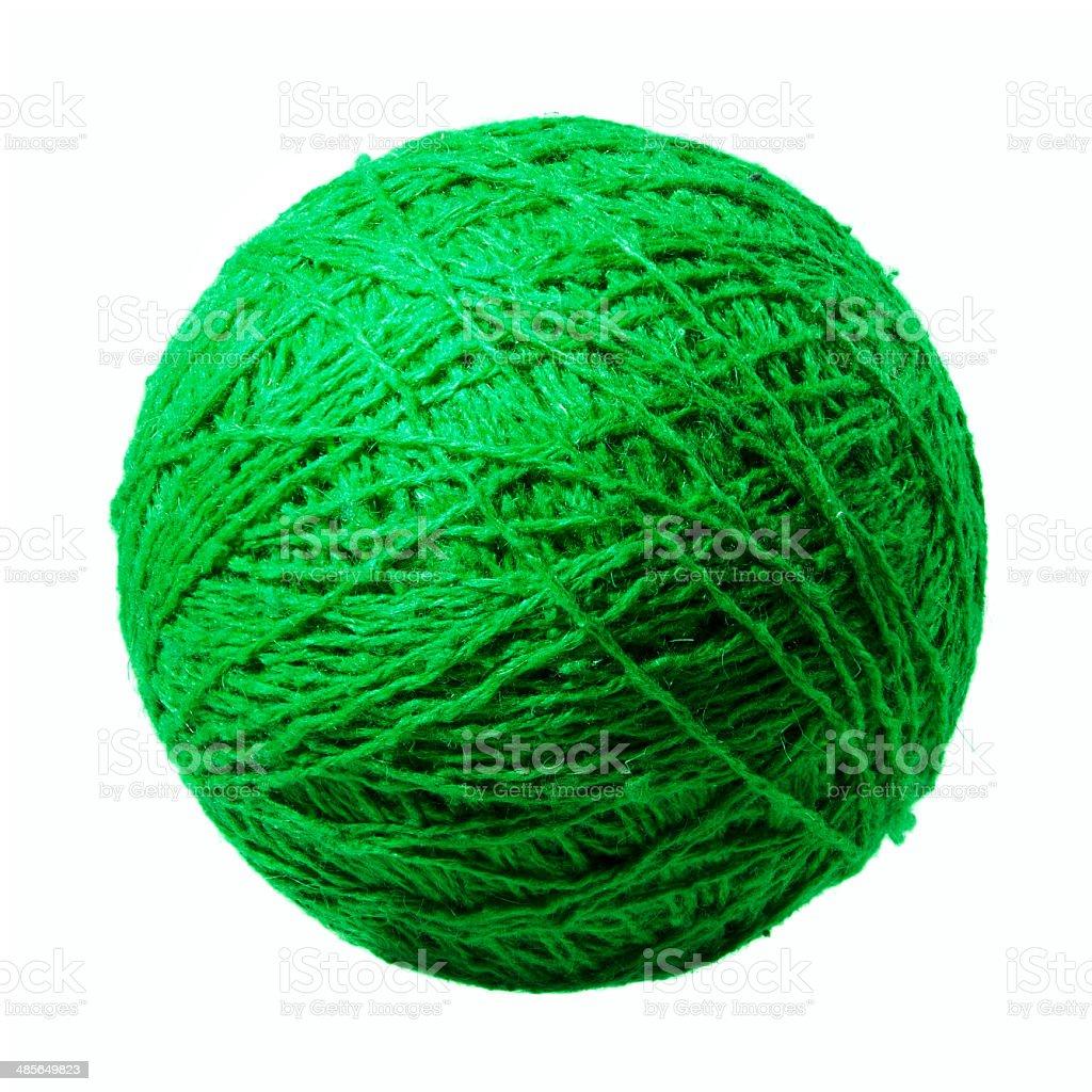 Green ball of yarn stock photo