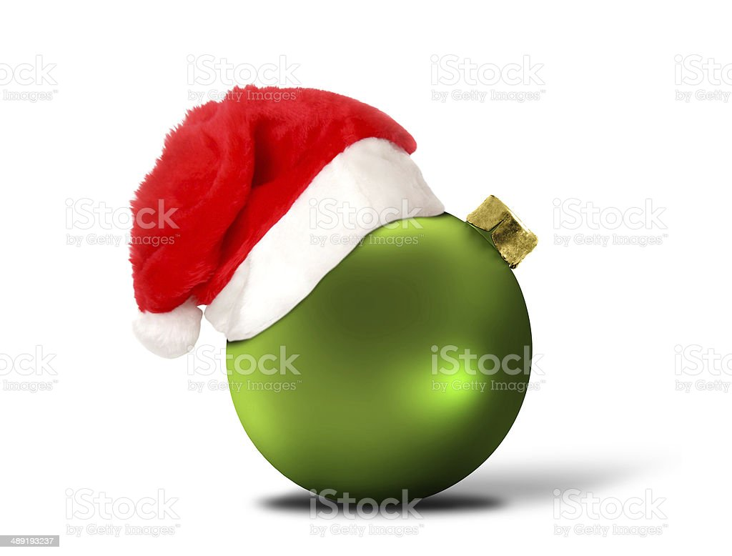 green ball with christmas hat stock photo