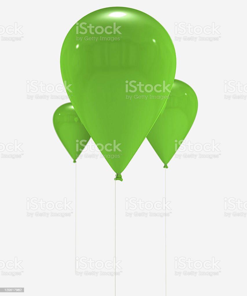 Green balloons trio royalty-free stock photo