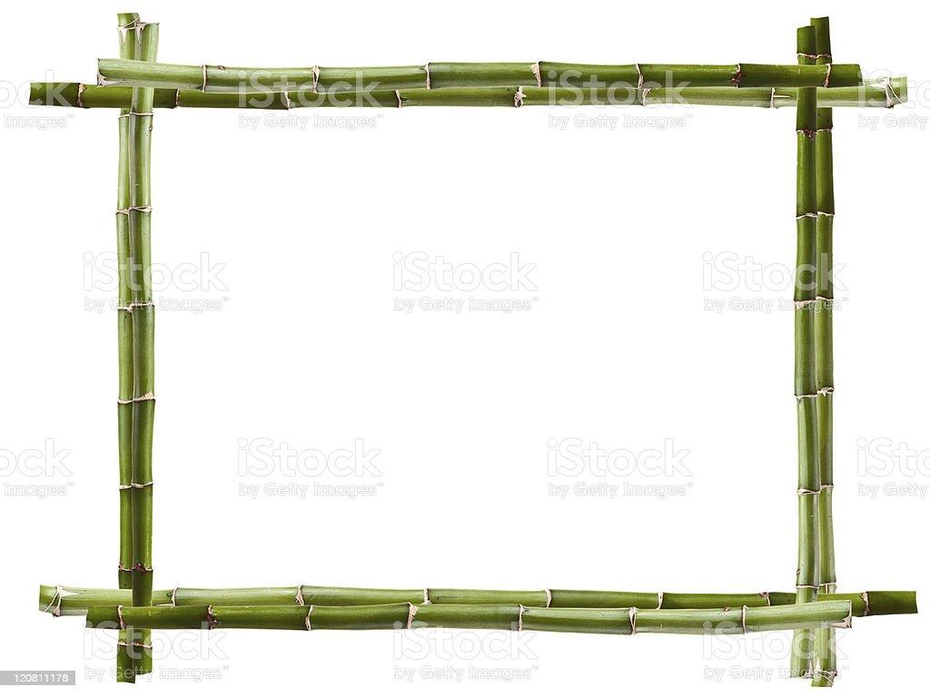 Green bamboo frame on white background stock photo