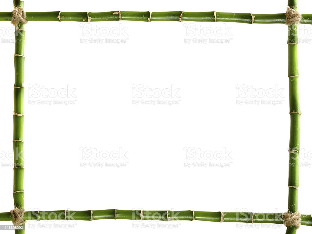 Green bamboo frame tied with twine stock photo