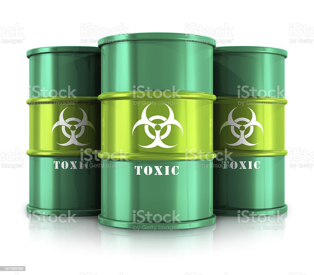 Green barrels with toxic substances royalty-free stock photo
