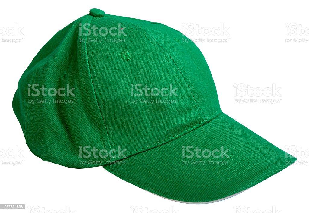 green baseball cap. isolated on white background stock photo