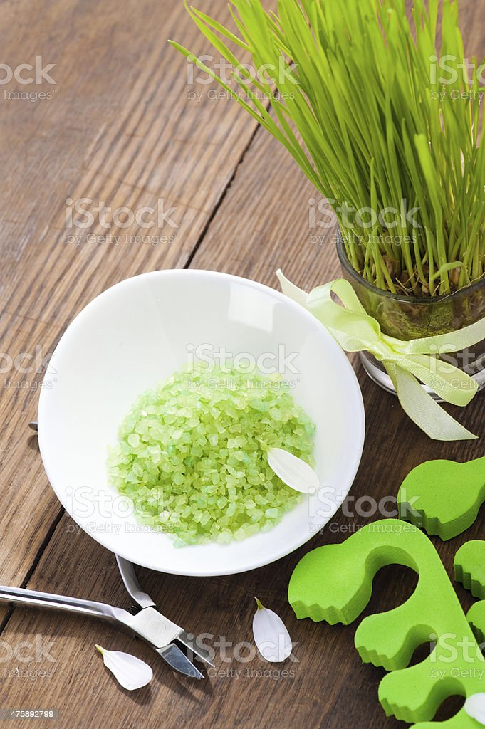 Green bath salt and pedicure tools royalty-free stock photo