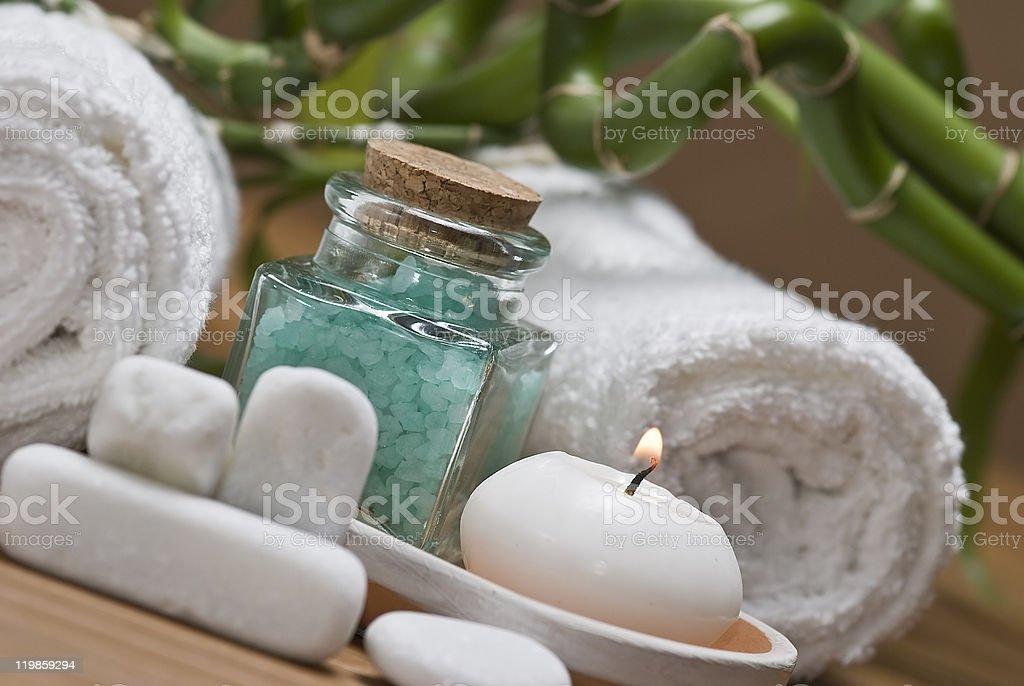Green bath salts pot. royalty-free stock photo