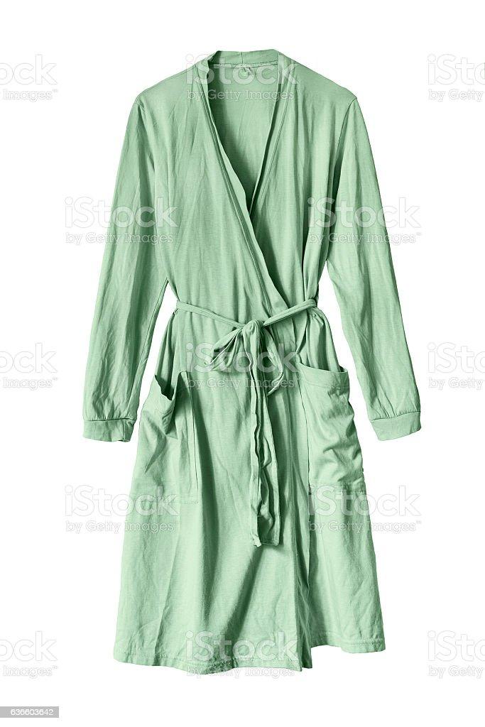 Green bathrobe isolated stock photo