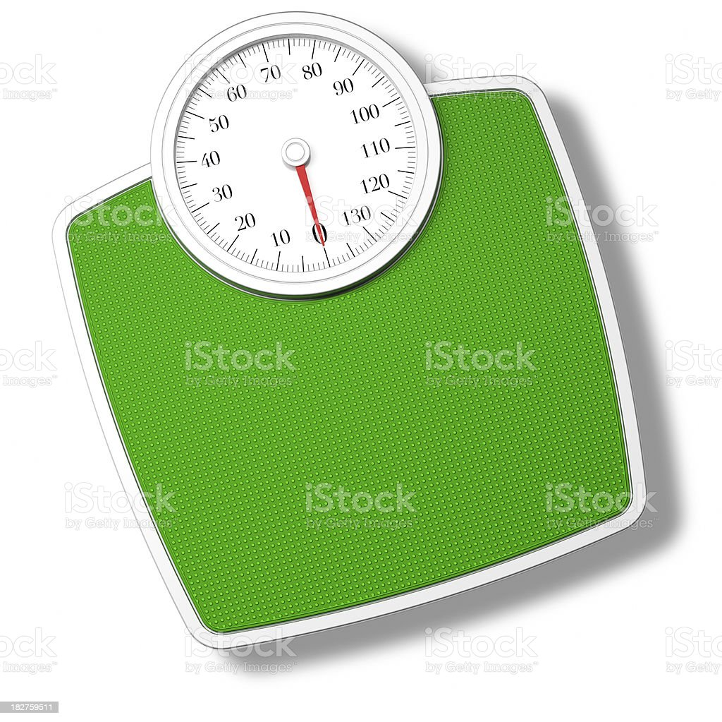 Green Bathroom Scale isolated on withe stock photo