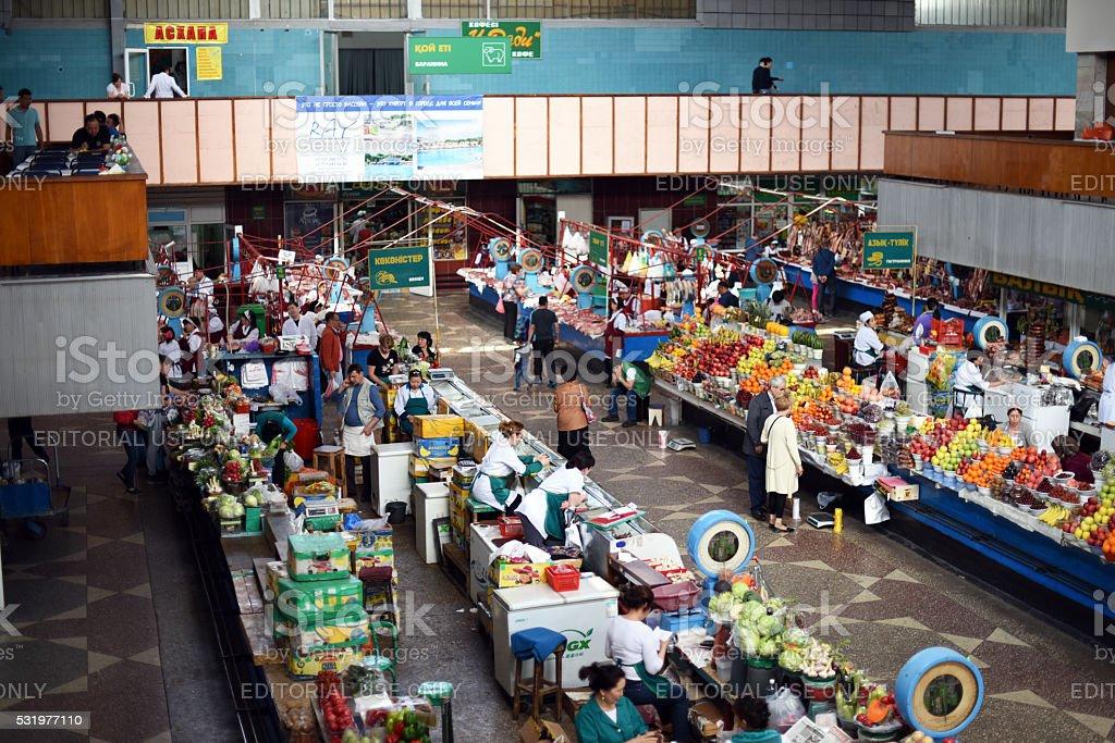 Green Bazaar Almaty stock photo
