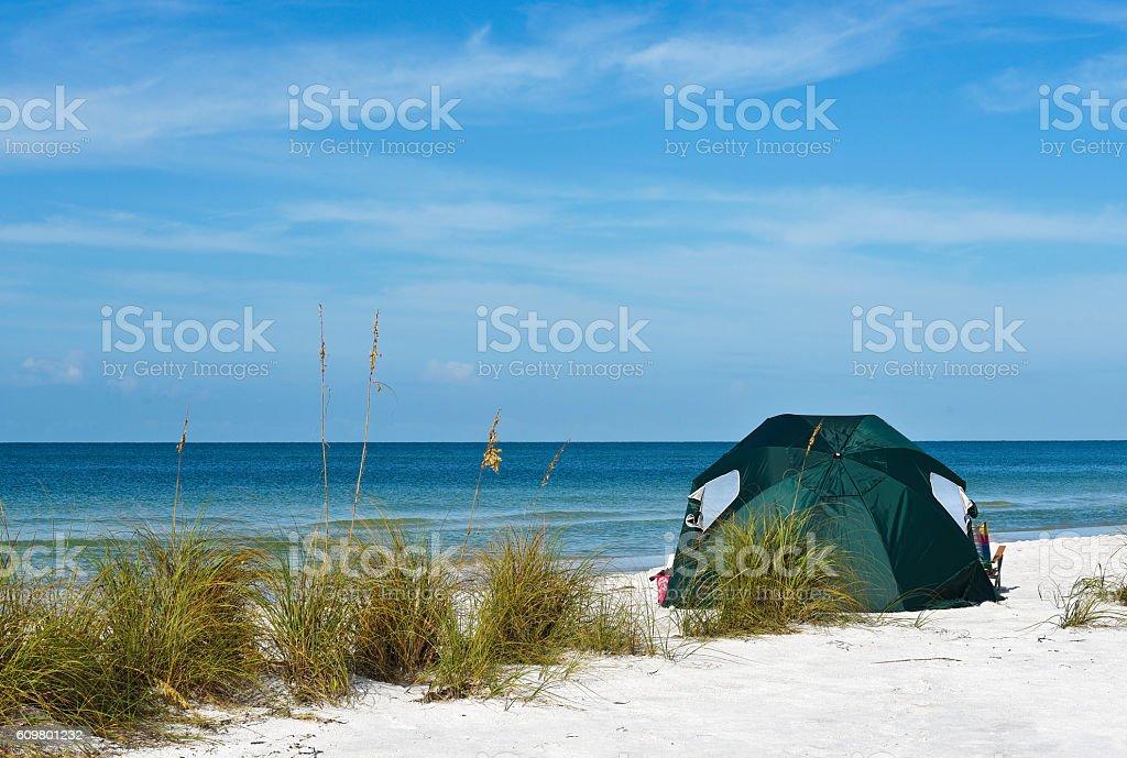 Green Beach Tent stock photo