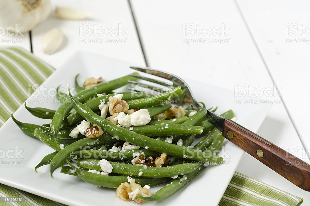 Green Bean and Feta Salad with Copy Space stock photo