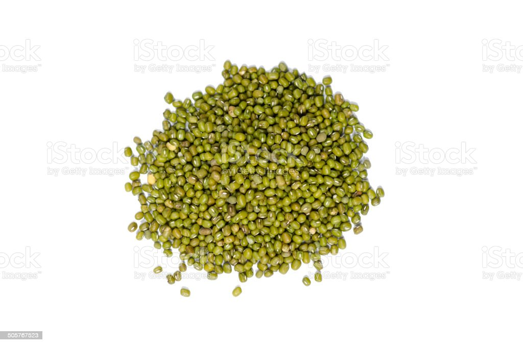 Green bean or mung beans isolated on white background stock photo