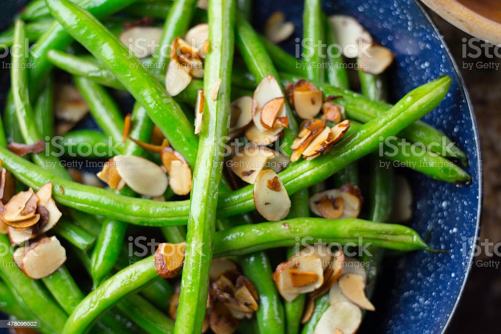 Green Bean with Almond stock photo