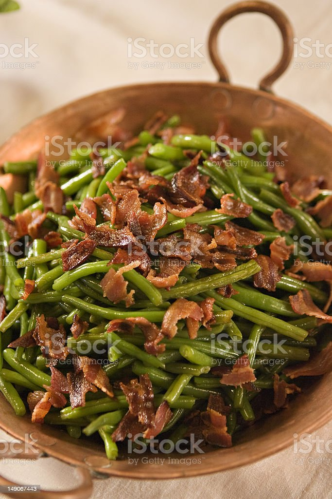 Green beans and bacon stock photo