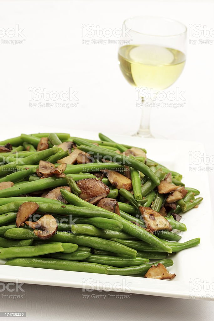 Green Beans and Mushrooms royalty-free stock photo