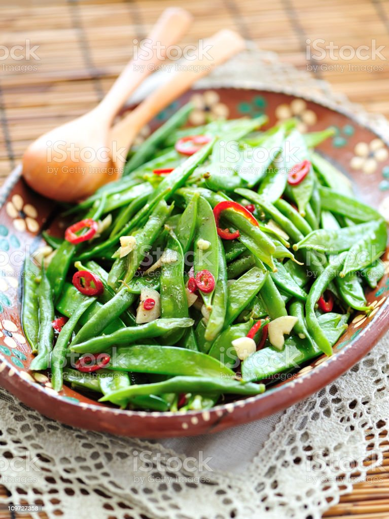 Green Beans and Pea Pods Salad royalty-free stock photo