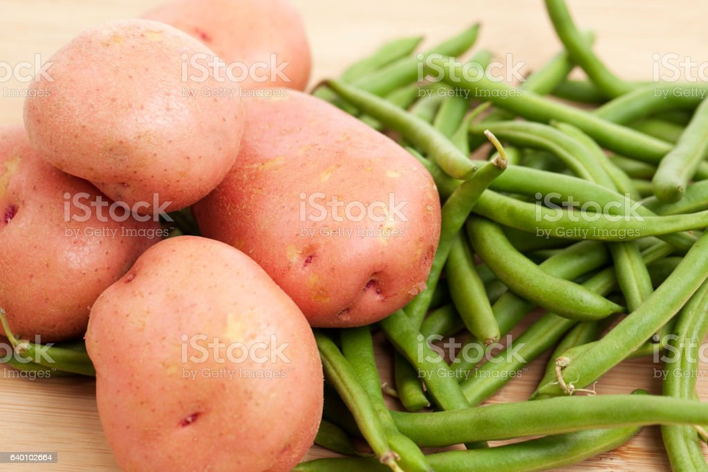 Green Beans and  Potatoes stock photo