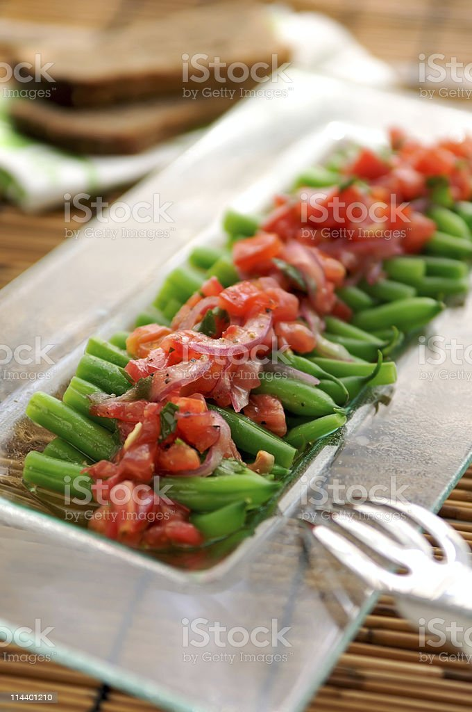 Green Beans and Tomato Salad royalty-free stock photo