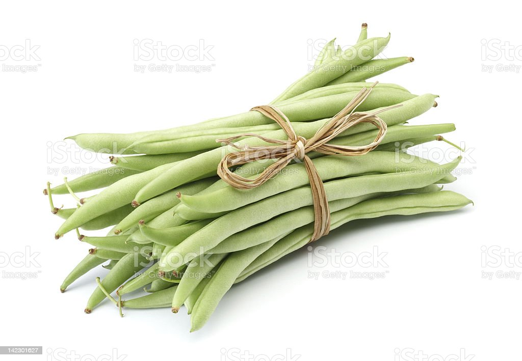 Green beans bundled together with twine royalty-free stock photo