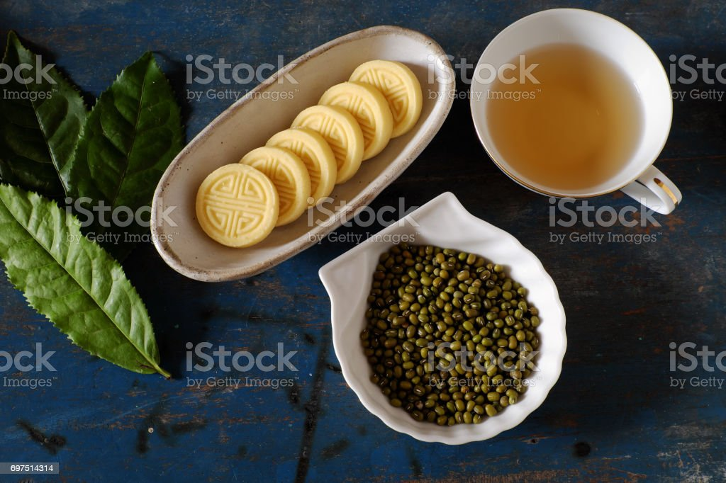 green beans cake stock photo