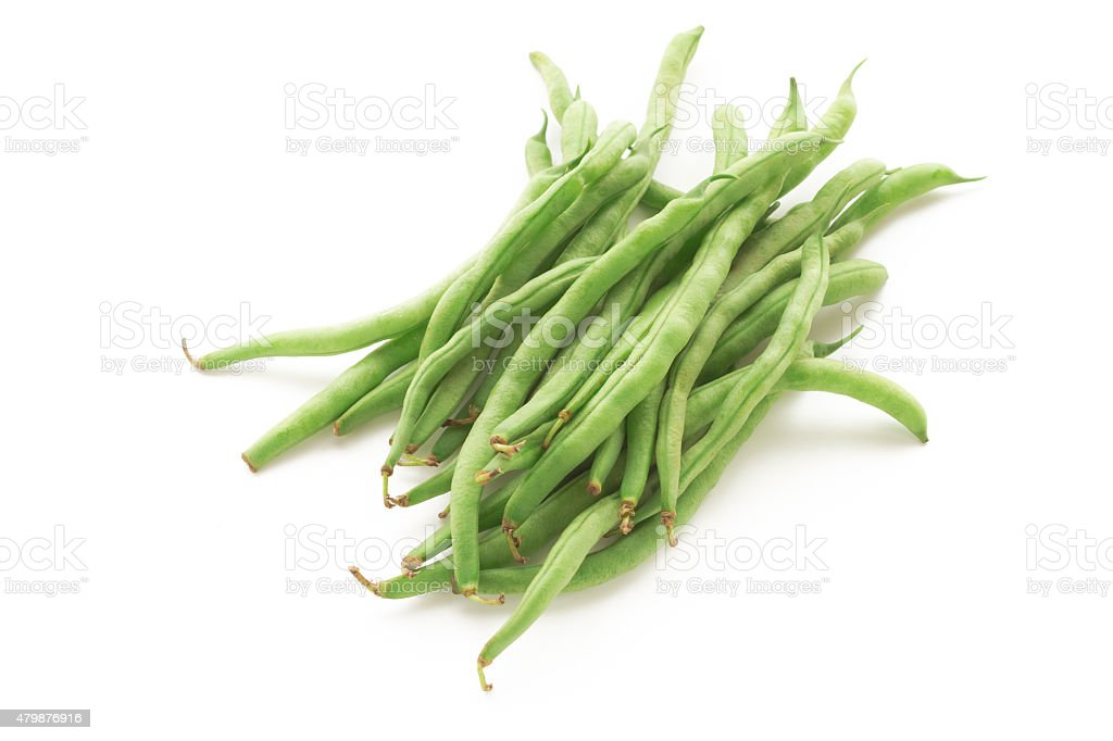 Green beans isolated on a white background stock photo