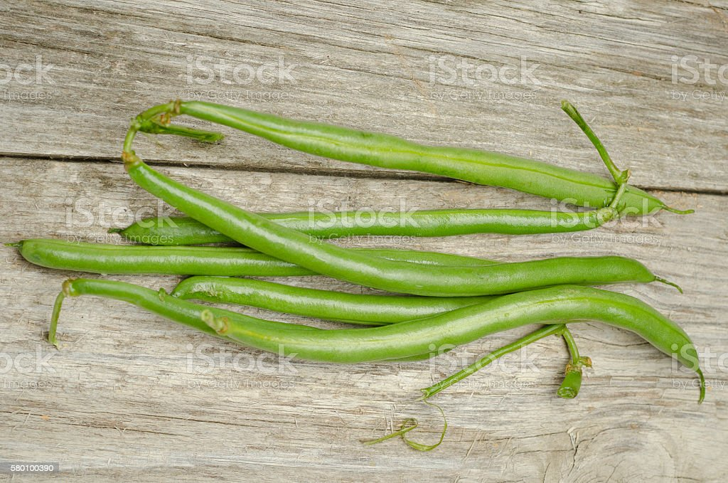Green Beans on Wood stock photo