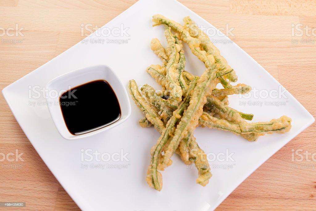 Green Beans Tempura with Dipping Sauce stock photo