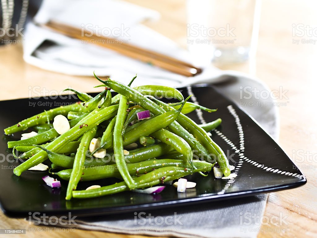 green beans with almond stock photo