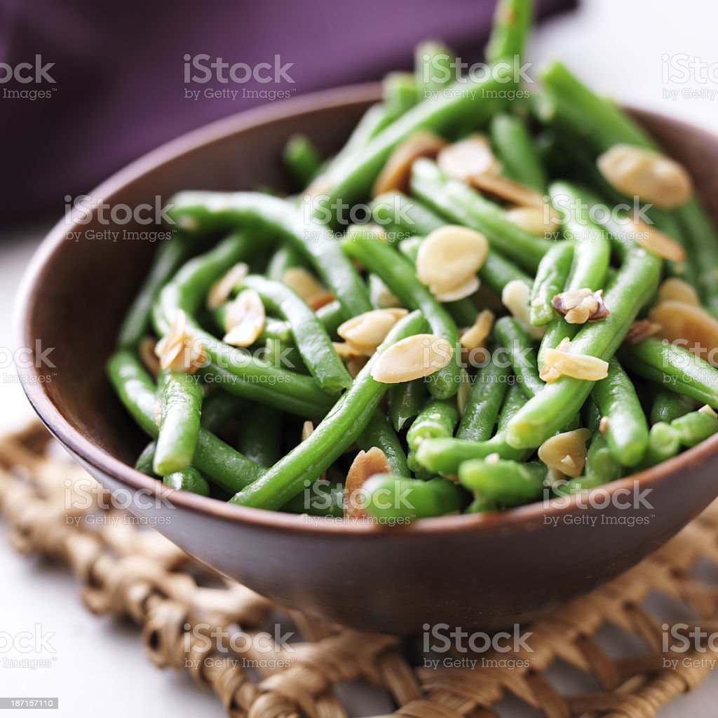 Green beans with almonds stock photo