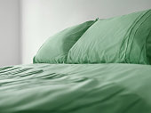 Green bedding on bed