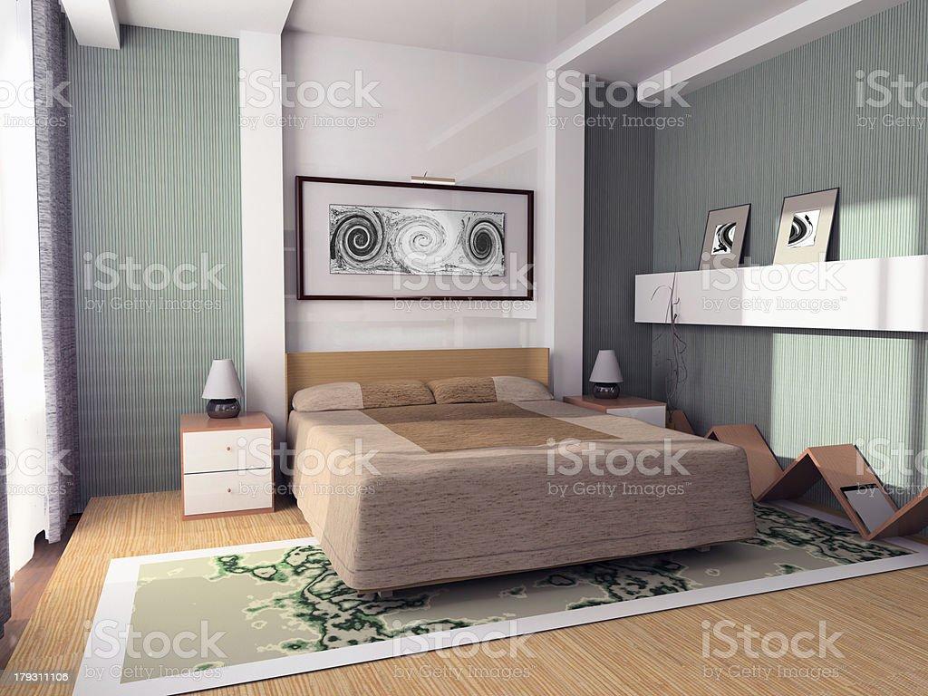Green Bedroom royalty-free stock photo
