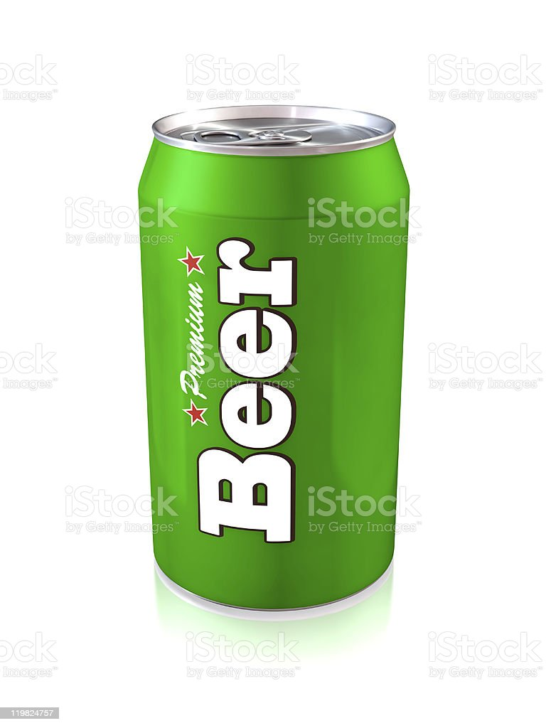 Green beer can on white background royalty-free stock photo