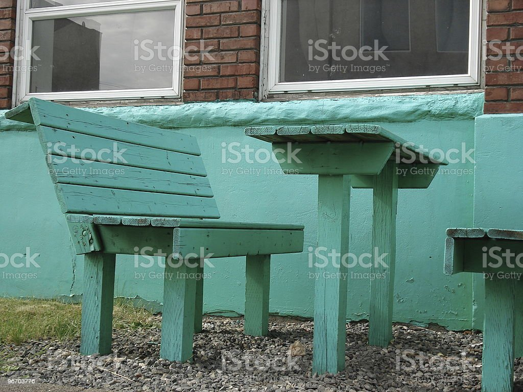 green bench and table royalty-free stock photo