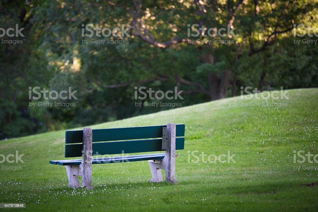 Green Bench in Green Park stock photo