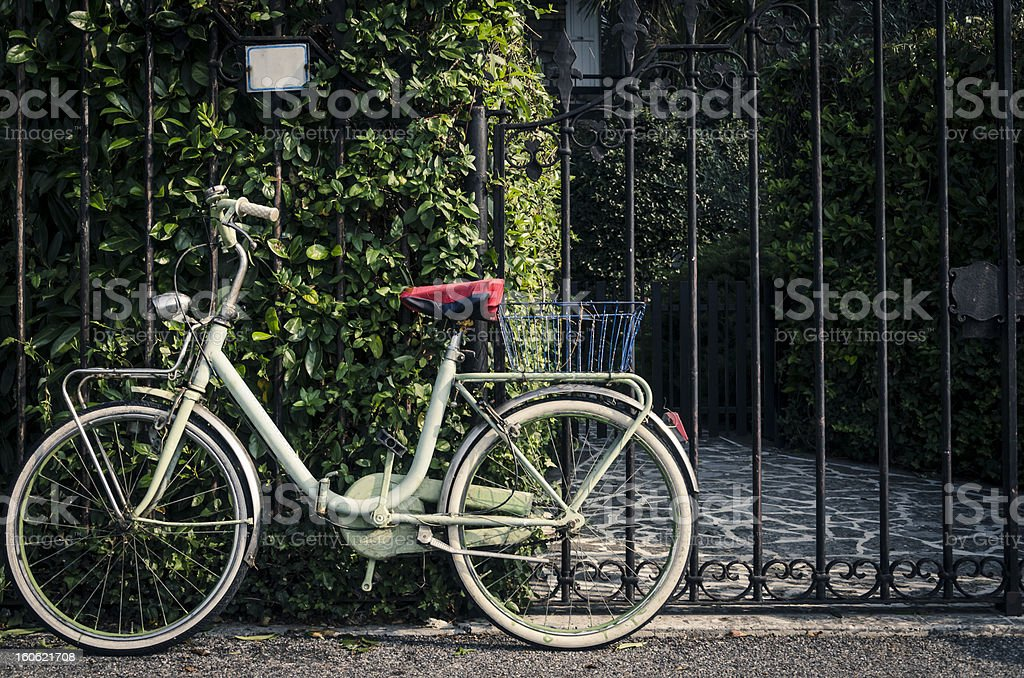 green bicycle leaning against a brush on Italian street stock photo