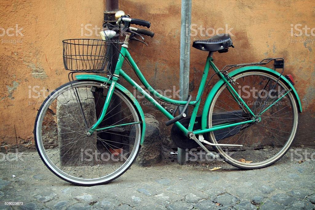 Green bike stock photo