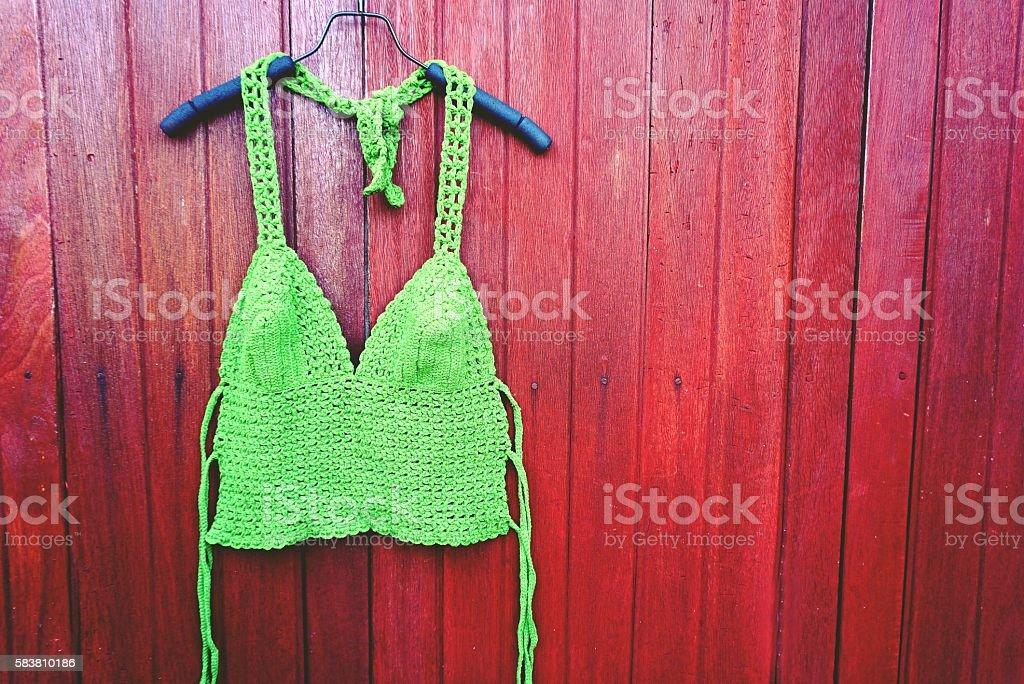 Green bikini summer beach and holiday concept stock photo