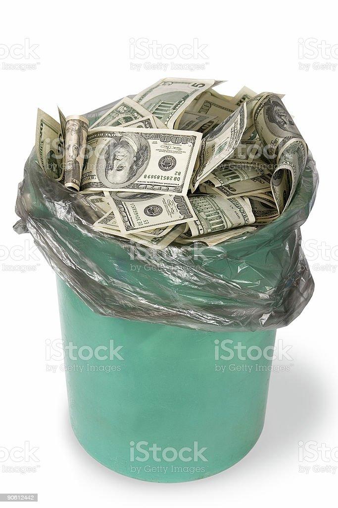 A green bin full of money in white background stock photo