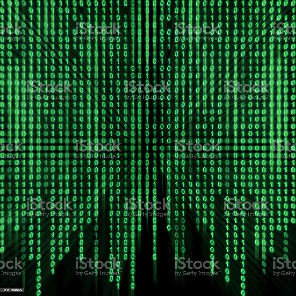 Green binary stream on the screen. stock photo
