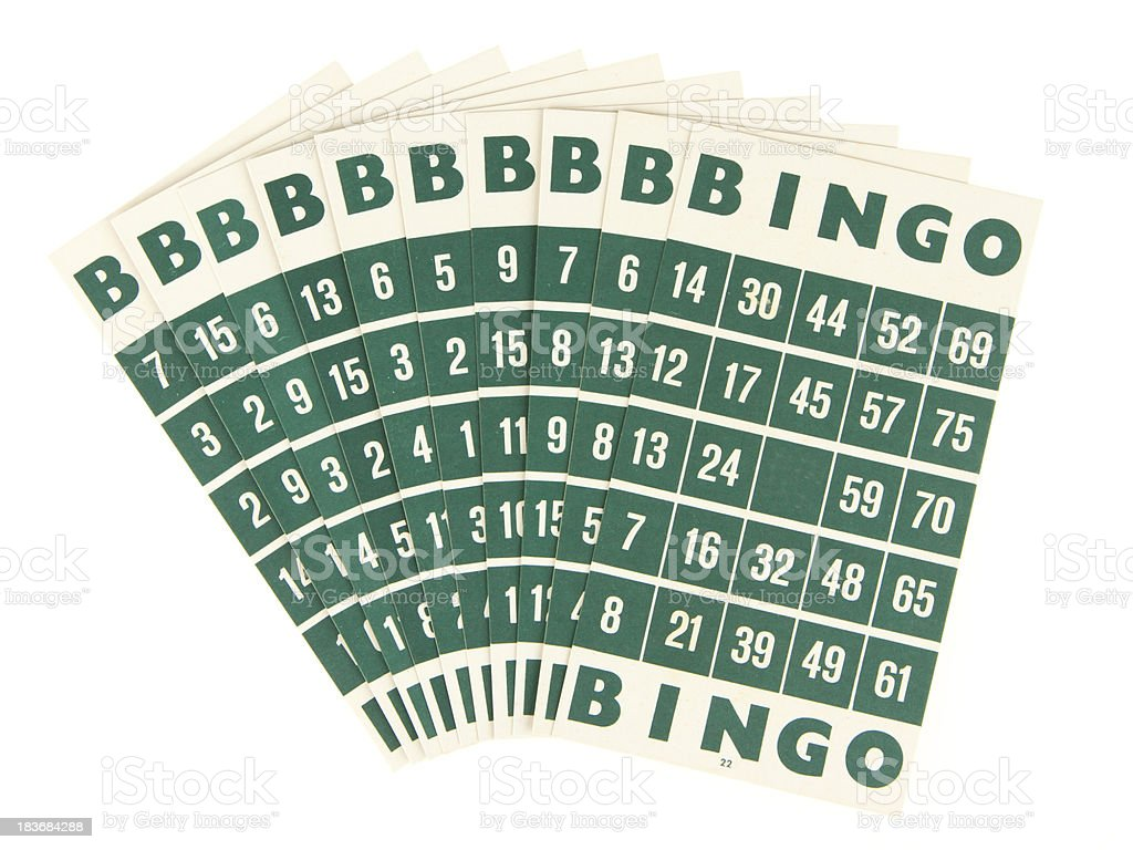 Green bingo cards isolated royalty-free stock photo