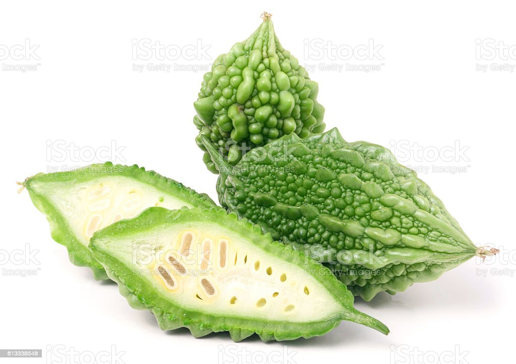 green bitter melon or momordica isolated on white background stock photo