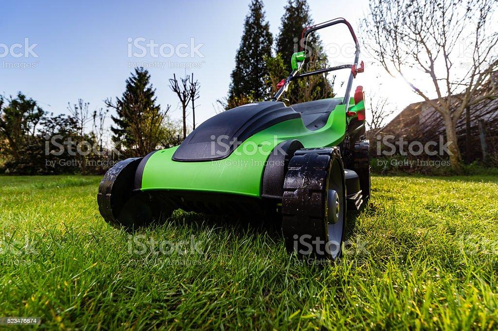green black lawn mowers stock photo