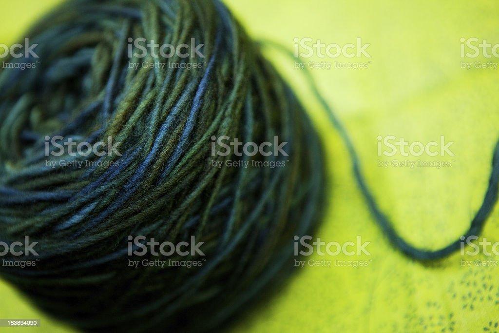 Green blended Merino Wool Yarn stock photo