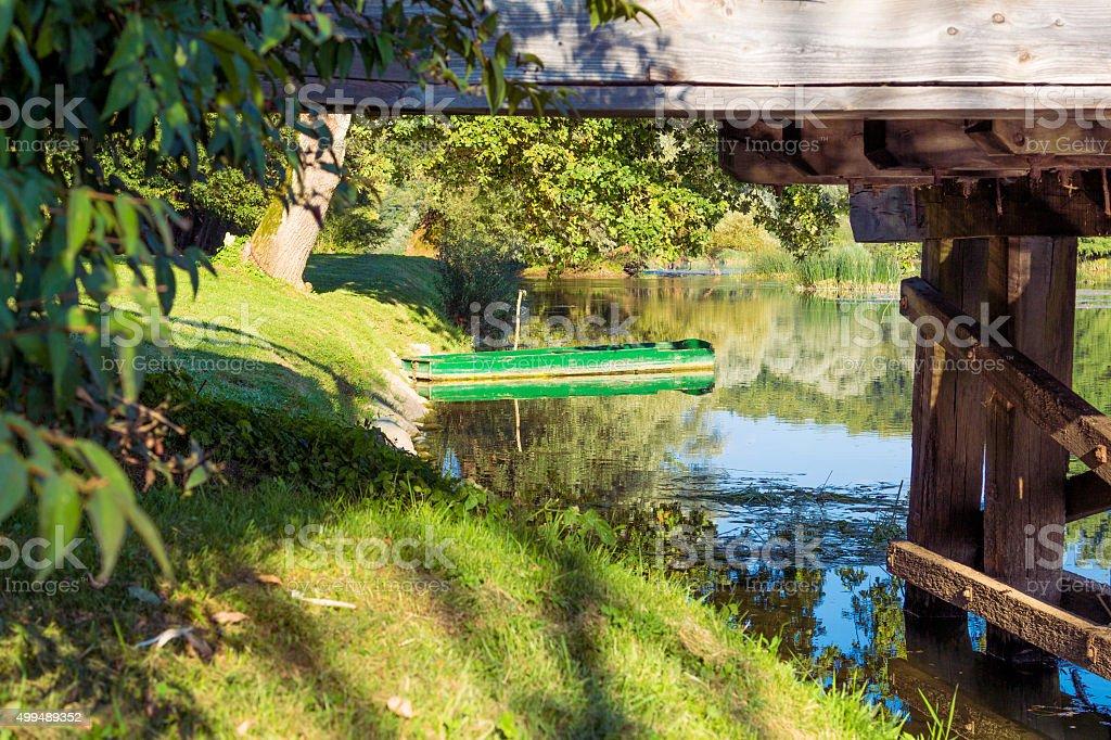 Green boat. stock photo