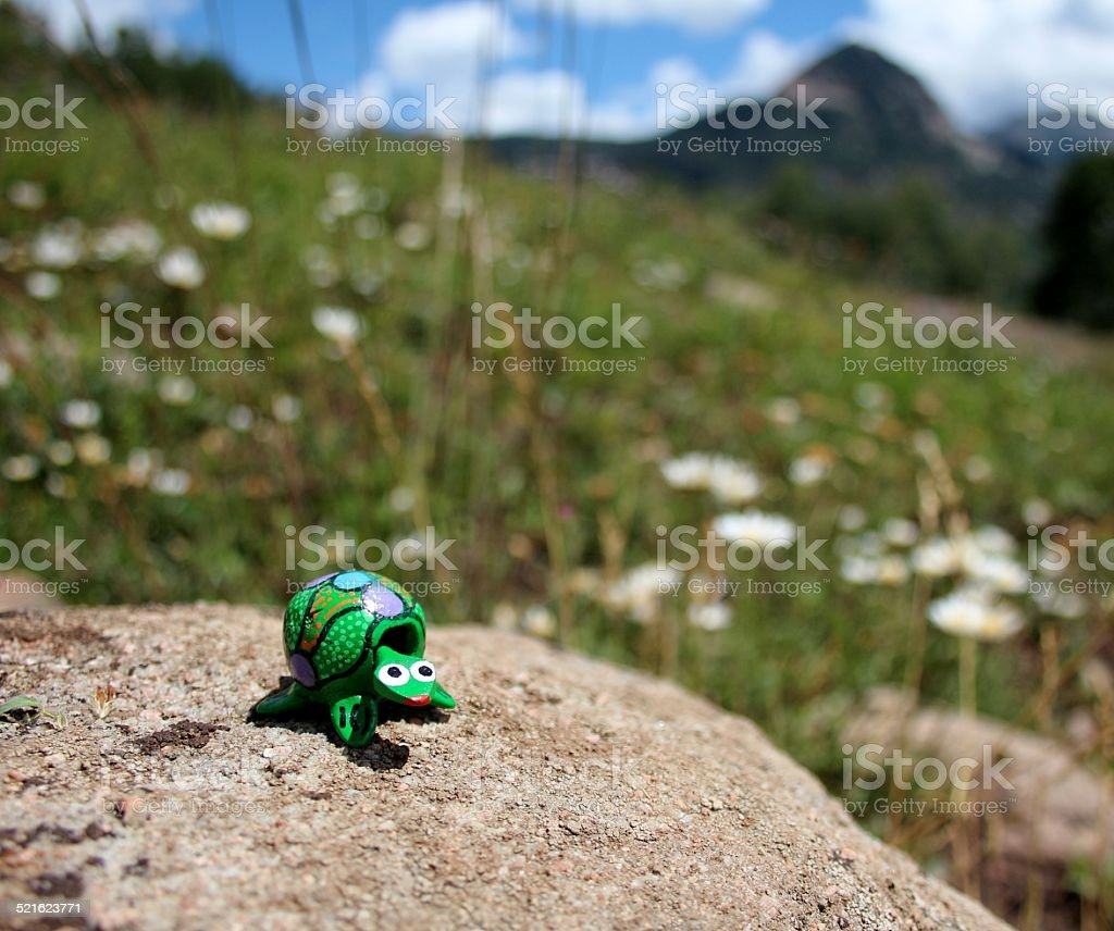 Green bobble head toy turtle and mountains stock photo
