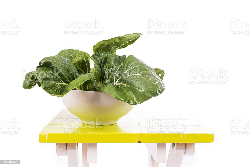 green bok choy vegetable on table stock photo