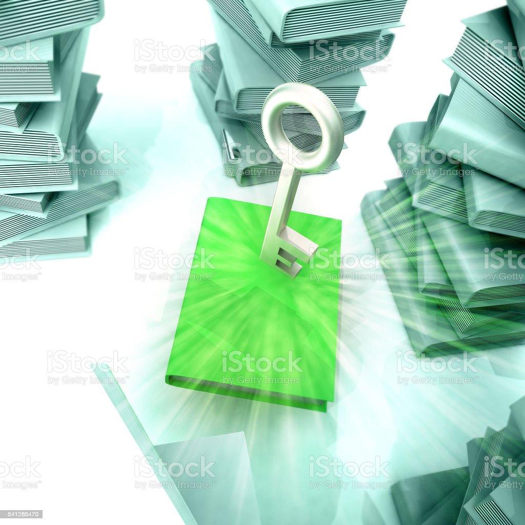 green book with metallic key stock photo
