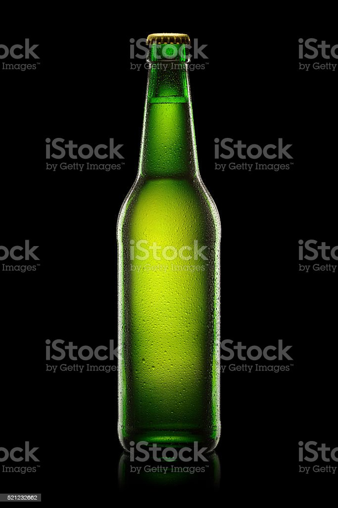 Green Bottle of beer stock photo