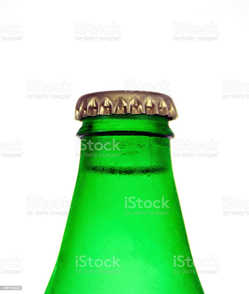 Green bottle with cap stock photo
