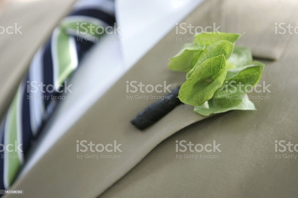 Green boutonniere royalty-free stock photo