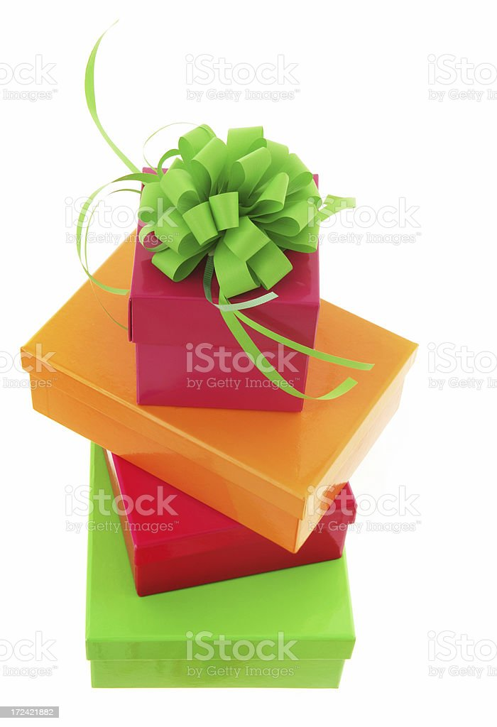 Green Bow on Gift royalty-free stock photo